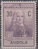 Angola Zwangszuschlagsportomarken 1925 Pombal ZP1 30 C Ungebraucht - Angola