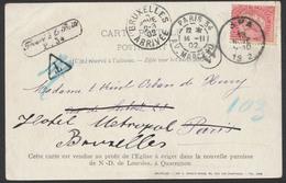Fine Barbe - N°58 Sur CP (vue Charbonnages Quaregnon) De Spa Vers Paris / Trouvé à La Boite + Taxe Barrée - 1893-1900 Thin Beard
