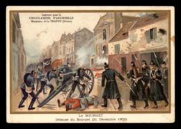 CHROMOS - CHOCOLATERIE D'AIGUEBELLE - DEFENSE DU BOURGET 1870 - FORMAT  13.5 X 9.5 CM - Aiguebelle