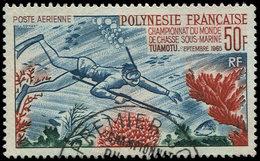 POLYNESIE FRANCAISE PA 14 : Chasse Sous-marine, Obl., TB - Poste Aérienne