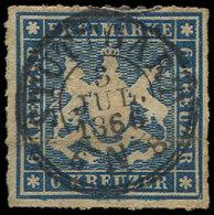 ALLEMAGNE (ANCIENS ETATS) WURTEMBERG 32 : 6k. Bleu, Obl., TB - Wurtemberg