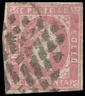 ITALIE (ANCIENS ETATS) SARDAIGNE 3a : 40c. Lilas-rose, Obl., Filet Touché Dans Un Angle, Sinon TB. C - Sardaigne