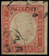 ITALIE (ANCIENS ETATS) SARDAIGNE 13 : 40c. Rouge, Obl., Effigie En Relief, TB - Sardegna