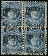 * CHILI Service 52 : 1c. Sur 20c. Bleu, BLOC De 4 Avec Surcharge Oblique Et à Cheval, TB - Chili