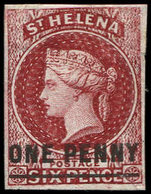 (*) SAINTE-HELENE 3a : 1p. Carmin, Surcharge One Penny, TB - Sainte-Hélène