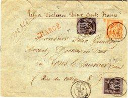 Sage  Lettre Chargée (200 F) à  60 C (40 C + 10 X 2)  04/12/89 Descriptif De Chargement En Rouge 2019 - Postmark Collection (Covers)
