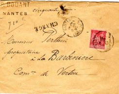 Sage  Lettre Chargée (50 F) à  50 C 10/04/01 Descriptif De Chargement 3006 - Postmark Collection (Covers)