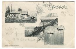 GRUSS AUS STOCKHORN SIMMENTHAL VERLAG R. BÜHLER 1903 Langstempel Stockhorn In Grün +'RINGOLDINGEN + Ambulant No 25 - BE Bern