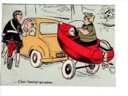 Jean BELLU C'est L'amiral Qui Paye Contravention Motard Gendarmerie  Bateau Remorque - Autres Illustrateurs