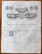 FATTURA PUBBLICITARIA  MATH.SALCHER & SOHNE   WIEN VIENNA  MODA ABBIGLIAMENTO COTONE   Del 8/8/1879  CON  MARCA DA BOLLO - Autriche