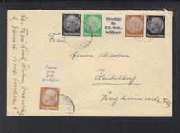 Dt. Reich ZD Auf Brief Darmstadt Nach Heidelberg - Zusammendrucke