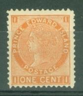 Prince Edward Is.: 1872   QV   SG34    1c   Orange   [Perf: 12]   MH - Prince Edward Island