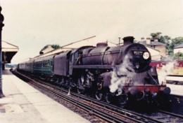 AL96 Railway Photograph - Steam Train At Station, Locomotive No. 75075 - Trains