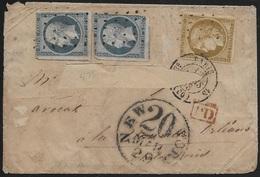LSC Mars 1853 De Paris Pour La Nouvelle Orléans Avec N°1 Et 2 X N°10 Avec Oblitération Gros Points - Marcophilie (Lettres)