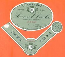 étiquette + Collerette De Champagne Brut Rosé Bernard Lonclas à Bassuet - 75 Cl - Champagne
