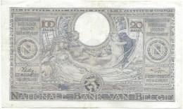 Banque Nationale De Belgique/ 100 Francs - 20 Belgas/ 1938       BILL137ter - [ 2] 1831-... : Regno Del Belgio