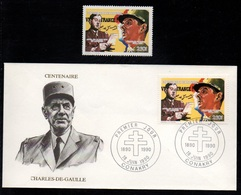GENERAL DE GAULLE / 1990 GUINEE ENVELOPPE FDC + TIMBRE ** (ref 7903) - De Gaulle (Général)