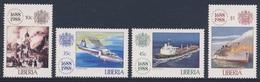Liberia 1988 Mi 1435 /8 SG 1708 /11 ** 300th Ann. Lloyd's Of London : Royal Exchange, Airplane, Tanker, Liner - Liberia