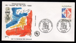 GENERAL DE GAULLE - APPEL DU 18 JUIN  / 1990 ENVELOPPE FDC (ref 7910) - Militaria