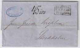 1864, Hamburg, Selt. Schwedisches Postamt !sehr Klar ! Nach Schweden   , #a1735 - Hamburg