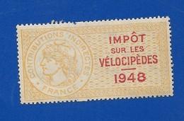Vignette Fiscale  Impôt Sur Le Vélocipédes 1948 - Fiscaux