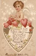 """Fair-haired Cherub  In Hearts. Love Message"" Nic Antique Postar"" Nice Antique Postcard - Retratos"