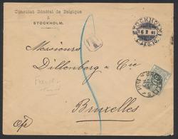 Lettre Du Consulat De Belgique à Stockholm 16/2/01 Vers Bruxelles + Taxe 50ctm / Lettre En Franchise Taxée - Taxes