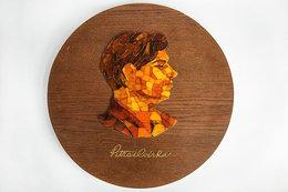 Amber Mosaic Portrait Writer Petras Cvirka Lituania 1970 Ano - Minerals