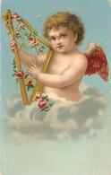 """Cherub Playing The Harp"" Nice Antique Postcard - Niños"