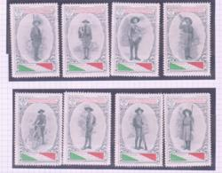 SCOUTS -  ITALY - GIOVANNI ITALIA EARLY SET OF 8 LABELS MINT HINGED PREVIOUSLY - Scouting