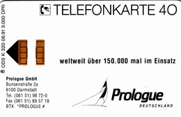 GERMANY - Prologue GmbH , K 0320-06/91 , 3.000 Tirage ,used - Duitsland