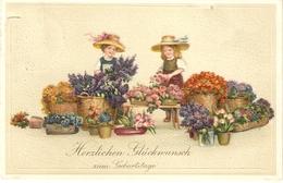 """""""Scene Of Girls Selling Flowers""""  Nice Antique German  Greetings Postcard - Escenas & Paisajes"""