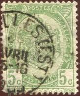 """COB   56  (o) Oblitération """"Bruxelles (Est)"""" T1L - 1893-1907 Armoiries"""