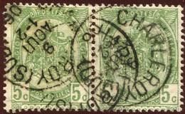 """COB   56  (o) Oblitération """"Charleroy (Sud)"""" T1L  En Paire - 1893-1907 Armoiries"""
