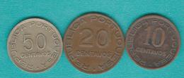 Mozambique - Portuguese Colony - 10, 20 & 50 Centavos - 1936 (KMs 63-65) - Mozambique