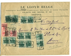 Belgique - Occupation 1914-1918 - OC2 X12 Et OC3 X3 Sur Lettre D'Antwerpen Via Etappen Inspection Arrivée Le 10 Jul 1916 - Guerre 14-18