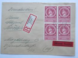 1944 ,  54 Pfg. Im 4er- Block Auf Einschreiben Eilbrief Aus Magdeburg - Deutschland