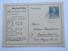 1947 , WICKRATH , Ganzsache Mit Beidseitigem Privatzudruck - Gemeinschaftsausgaben