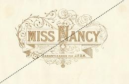 1893-1894 Grande étiquette Boite à Cigare Havane MISS NANCY - Etichette