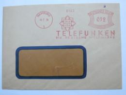1934 , Hamburg . Telefunken Radio   ,  Firmen Freistempel  Auf Brief - Deutschland