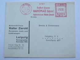 1938 , LEIPZIG - HANOMAG  PKW , KFZ  , Firmen Freistempel  Auf Brief - Deutschland