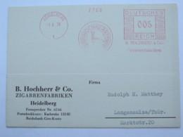 1938 , HEIDELBERG - Zigaretten, Firmen Freistempel  Auf Karte - Deutschland