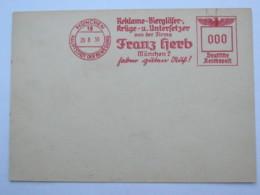 1939 , München -  Reklame Biergläser  , Firmen Freistempel  Auf Karte - Deutschland