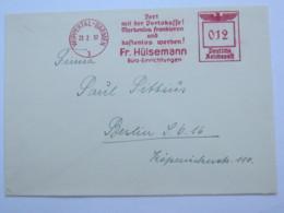1937 , WUPPERTAL ,  Francostempel - Markenlos Frankieren, Firmen Freistempel  Auf Brief - Deutschland