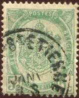 """COB   56  (o) Oblitération """"Court-St-Etienne""""  T0 - 1893-1907 Armoiries"""