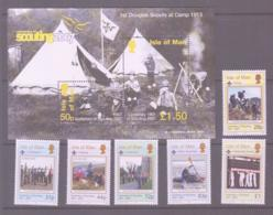 SCOUTS -  ISLE OF MAN - 2007 - EUROPA/ SCOUTS SET OF 6 = S/SHEET MNH, FACE VLUE ALONE £5.58 - Scouting