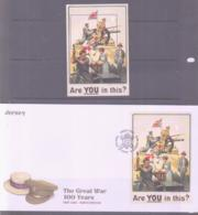 SCOUTS -  JERSEY - 2014 - GREAT WAR S/SHEET MNH + ILLUSTRATED FDC - Scouting