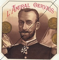 Fin 1800 étiquette Boite à Cigare AMIRAL GERVAIS - Etiquettes