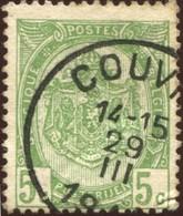 """COB   56  (o) Oblitération """"Couvin  T2R - 1893-1907 Armoiries"""