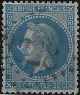 Napoléon III Lauré 1863 N°29d Type II 20c Bleu Oblitéré GC 3328 De Sauve, Variété à La Corne ! Signé Calves - 1863-1870 Napoléon III. Laure